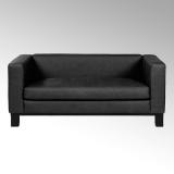 Lambert Bella, Sofa lang, Leder Santa Fe, schwarz